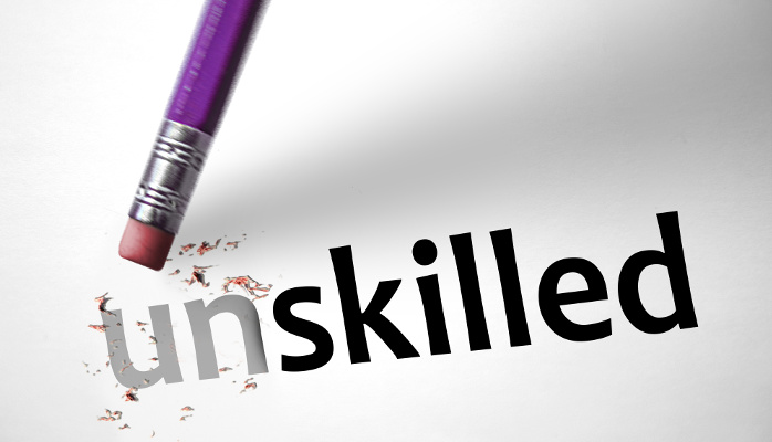 word Unskilled for Skilled human resource management