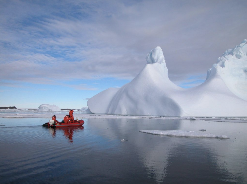 Expeditioners on a first-time iceberg tour
